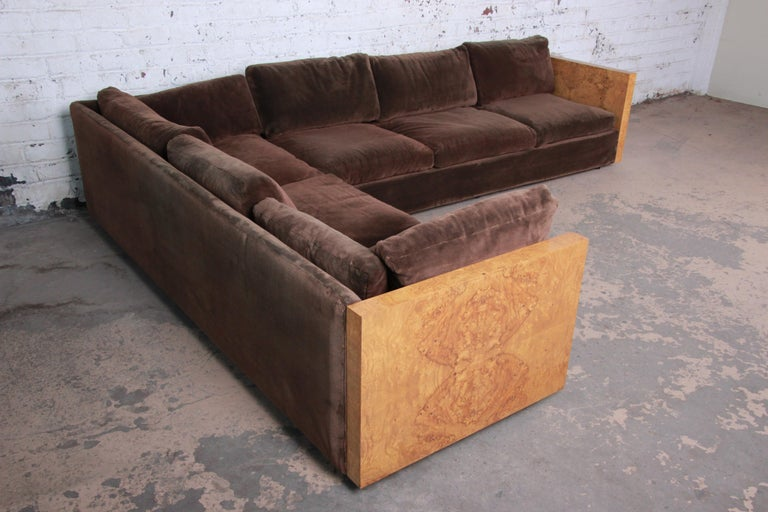 American Milo Baughman for Thayer Coggin Burl Wood Case Sectional Sofa, 1970s For Sale