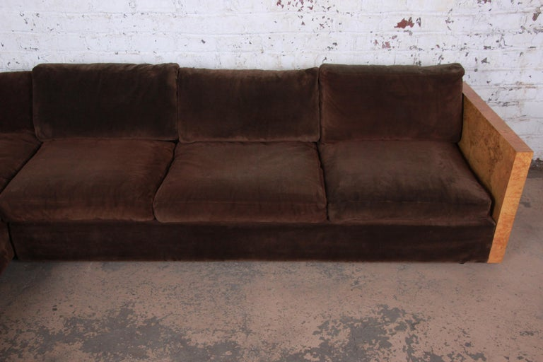 Late 20th Century Milo Baughman for Thayer Coggin Burl Wood Case Sectional Sofa, 1970s For Sale