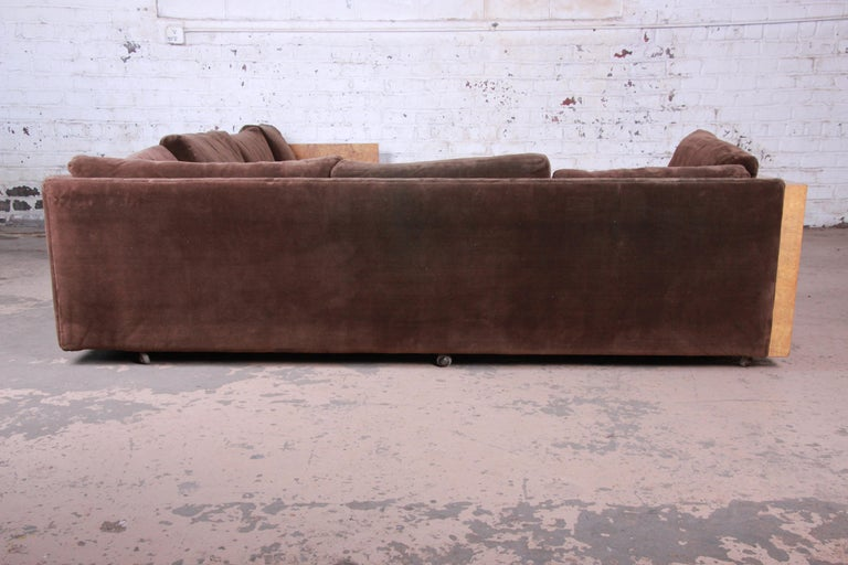 Upholstery Milo Baughman for Thayer Coggin Burl Wood Case Sectional Sofa, 1970s For Sale