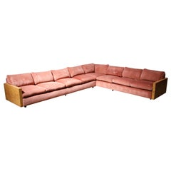 Milo Baughman for Thayer Coggin Burled Case and Pink Velvet Sectional Sofa Set