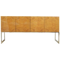 Milo Baughman for Thayer Coggin Burled Wood and Chrome Cabinet Credenza Vintage