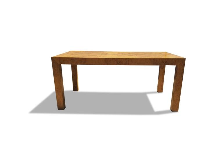 Milo Baughman for Thayer Coggin burlwood dining table.  Measures: 110