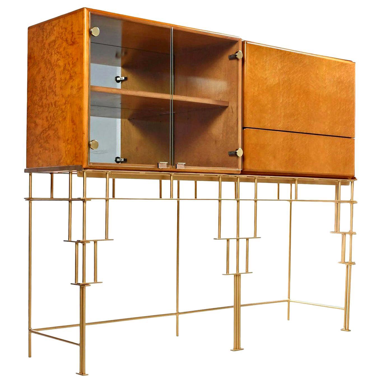 Hollywood Regency Maple Cabinets on Custom Made Metal Base