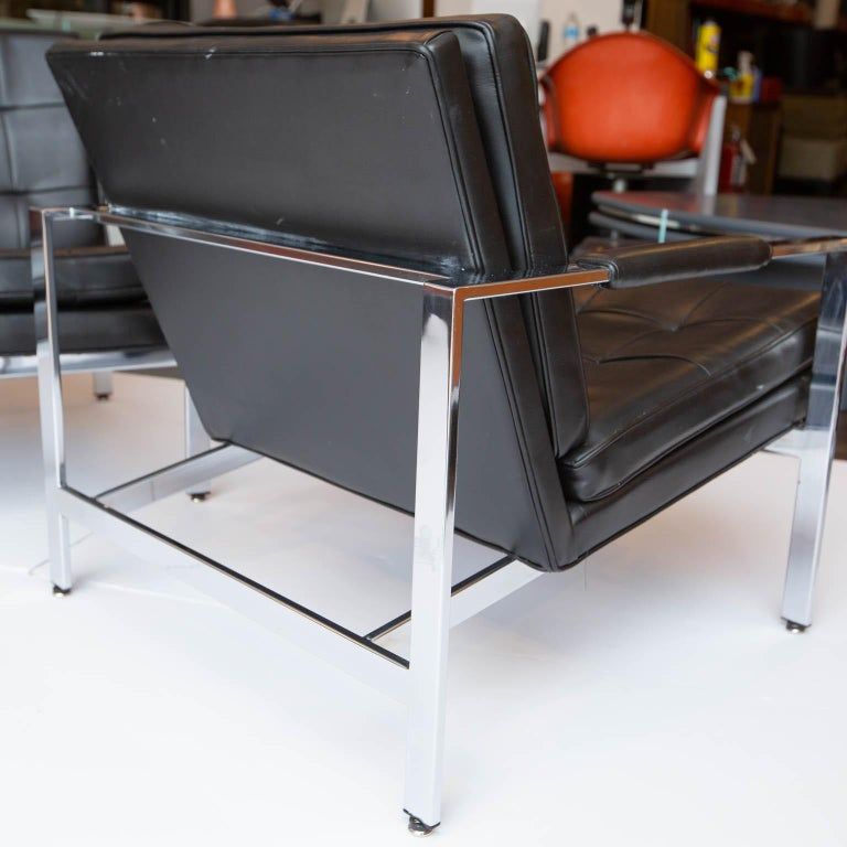 Naugahyde Milo Baughman for Thayer-Coggin Chrome Armchairs For Sale