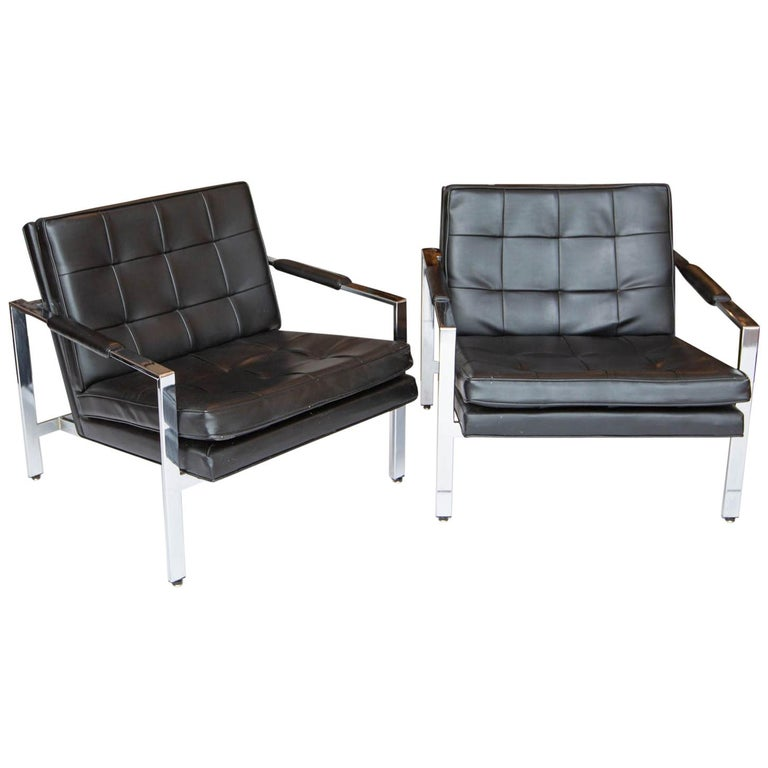 Milo Baughman for Thayer-Coggin Chrome Armchairs For Sale