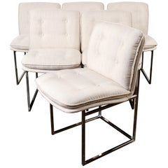 Milo Baughman for Thayer Coggin Chrome Dining Chairs