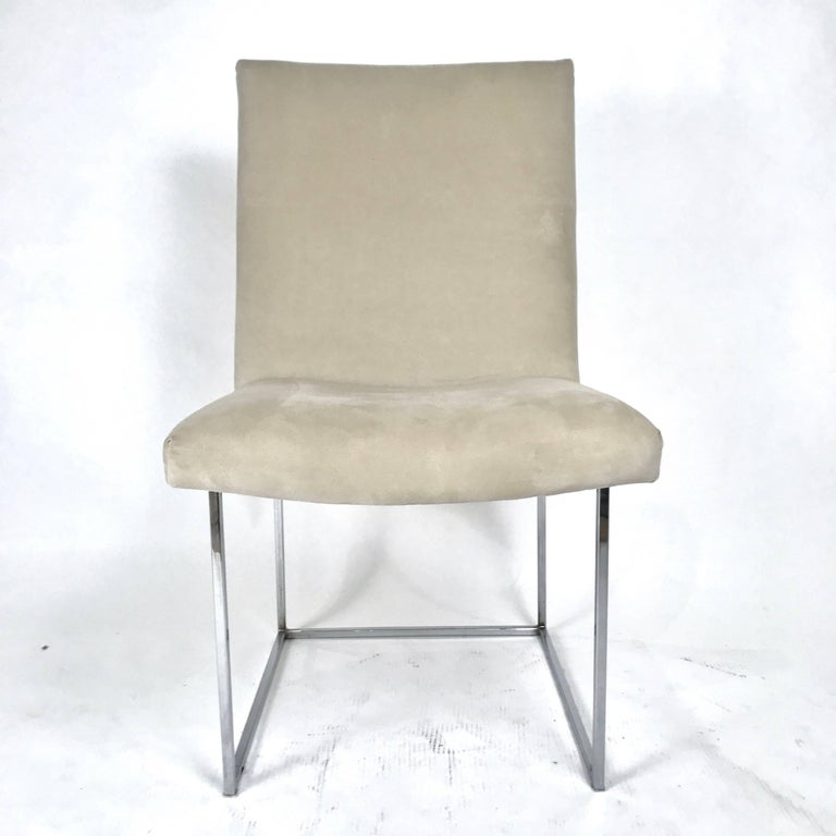 Mid-Century Modern Milo Baughman for Thayer Coggin Chrome Framed Dining Chairs with Ultrasuede For Sale