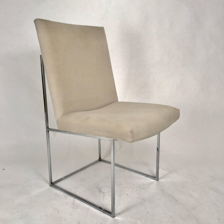 American Milo Baughman for Thayer Coggin Chrome Framed Dining Chairs with Ultrasuede For Sale