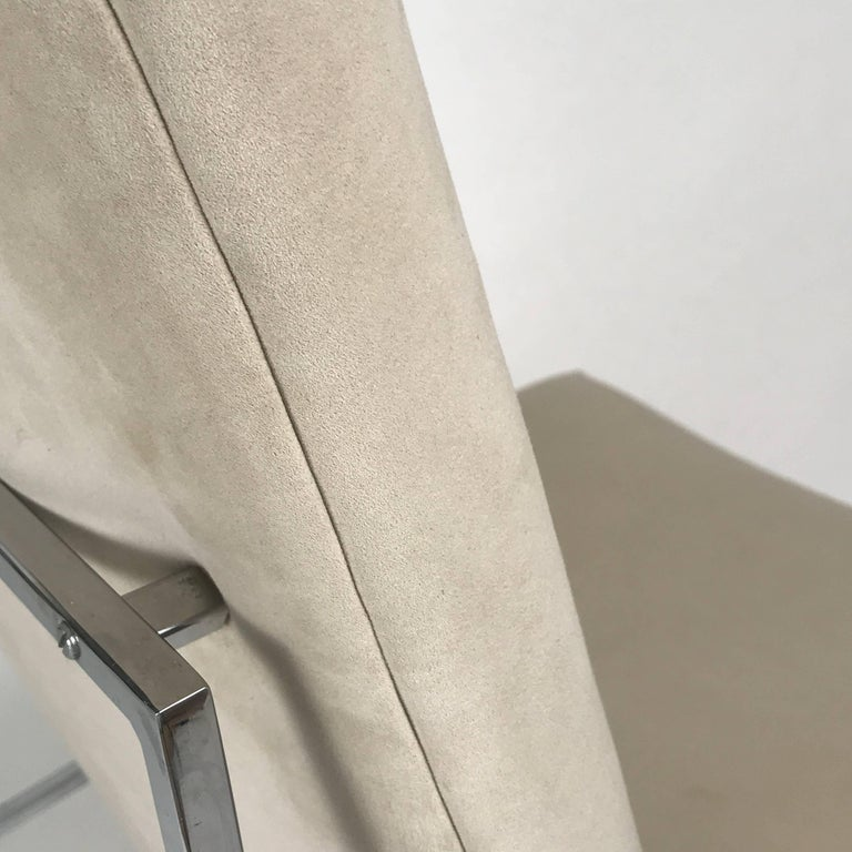 Milo Baughman for Thayer Coggin Chrome Framed Dining Chairs with Ultrasuede In Good Condition For Sale In Hudson, NY