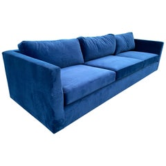 Milo Baughman for Thayer Coggin Chrome and Velvet Sofa
