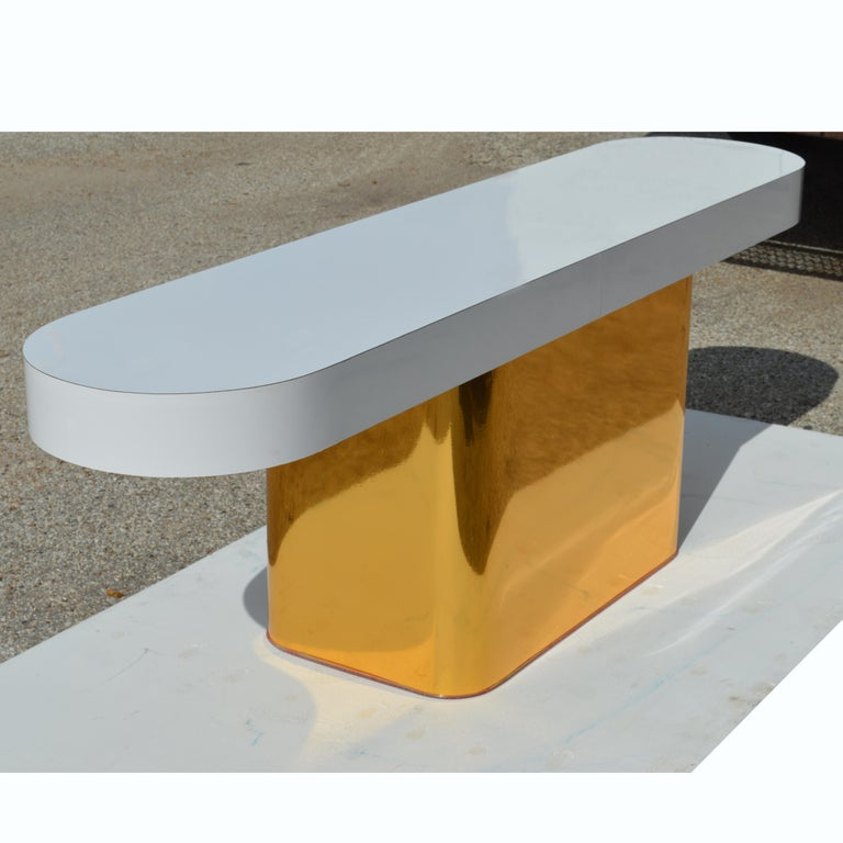Mid-Century Modern Milo Baughman For Thayer Coggin Console Table & Stools