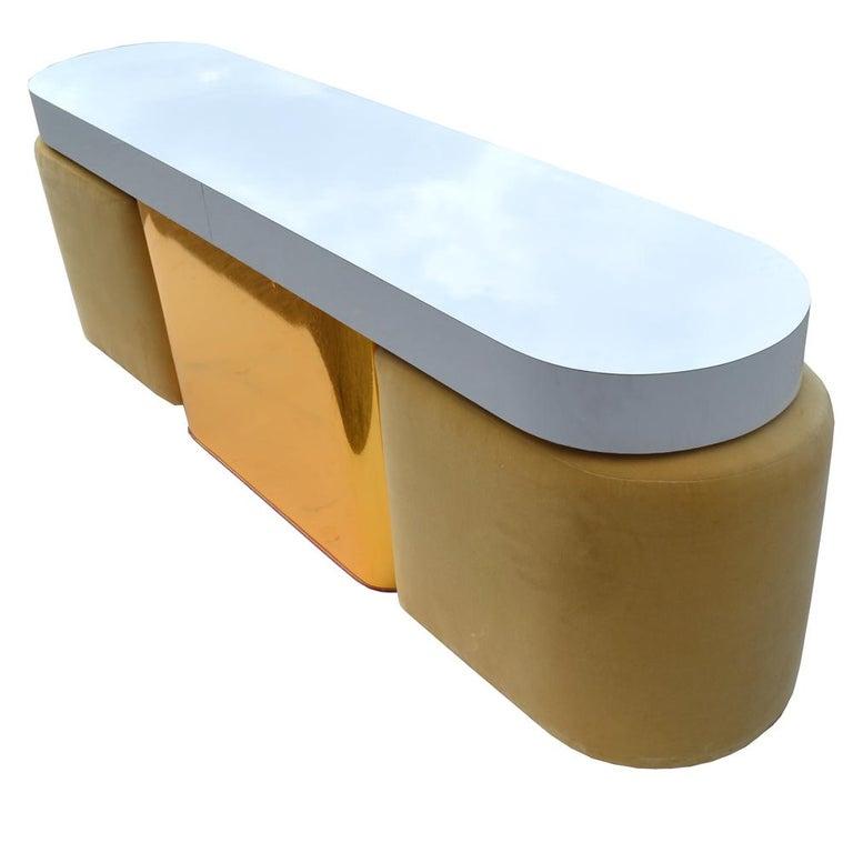 Brass Milo Baughman For Thayer Coggin Console Table & Stools