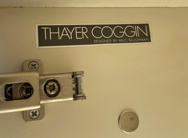 Milo Baughman for Thayer Coggin Credenza Glass Chrome 4 Door Purple 3