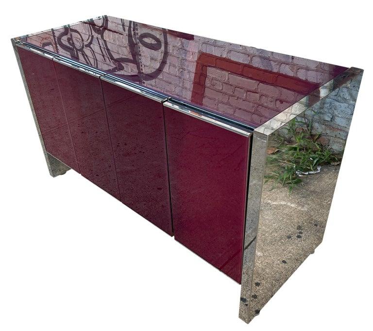 American Milo Baughman for Thayer Coggin Credenza Glass Chrome 4 Door Purple