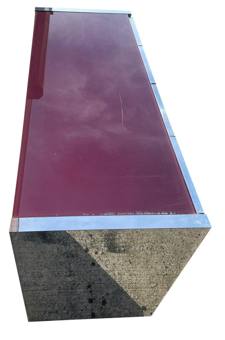 Woodwork Milo Baughman for Thayer Coggin Credenza Glass Chrome 4 Door Purple