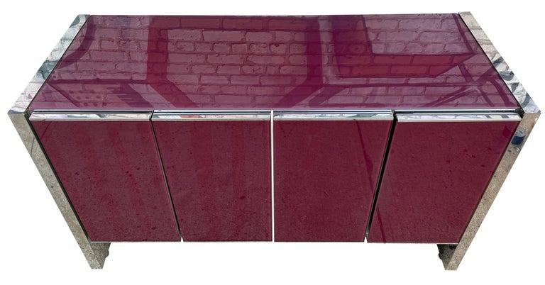 Milo Baughman for Thayer Coggin Credenza Glass Chrome 4 Door Purple In Good Condition In BROOKLYN, NY