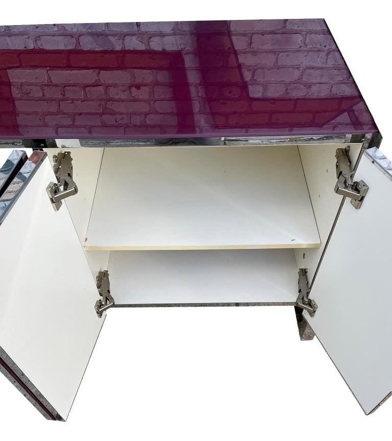 Steel Milo Baughman for Thayer Coggin Credenza Glass Chrome 4 Door Purple
