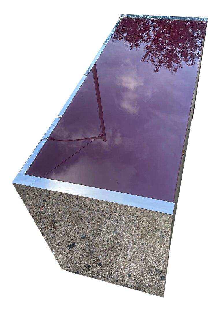 Milo Baughman for Thayer Coggin Credenza Glass Chrome 4 Door Purple 1