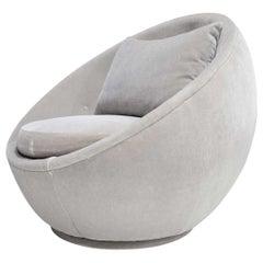 Milo Baughman for Thayer Coggin Egg Chair in Light Gray Mohair