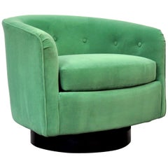 Milo Baughman for Thayer Coggin Moss Green Velvet Swivel Lounge Chair