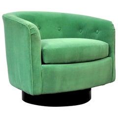 Milo Baughman for Thayer Coggin Emerald Green Velvet Swivel Lounge Chair