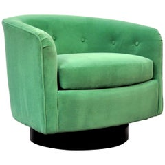 Milo Baughman for Thayer Coggin Emerald Green Velvet Swivel Lounge Chair