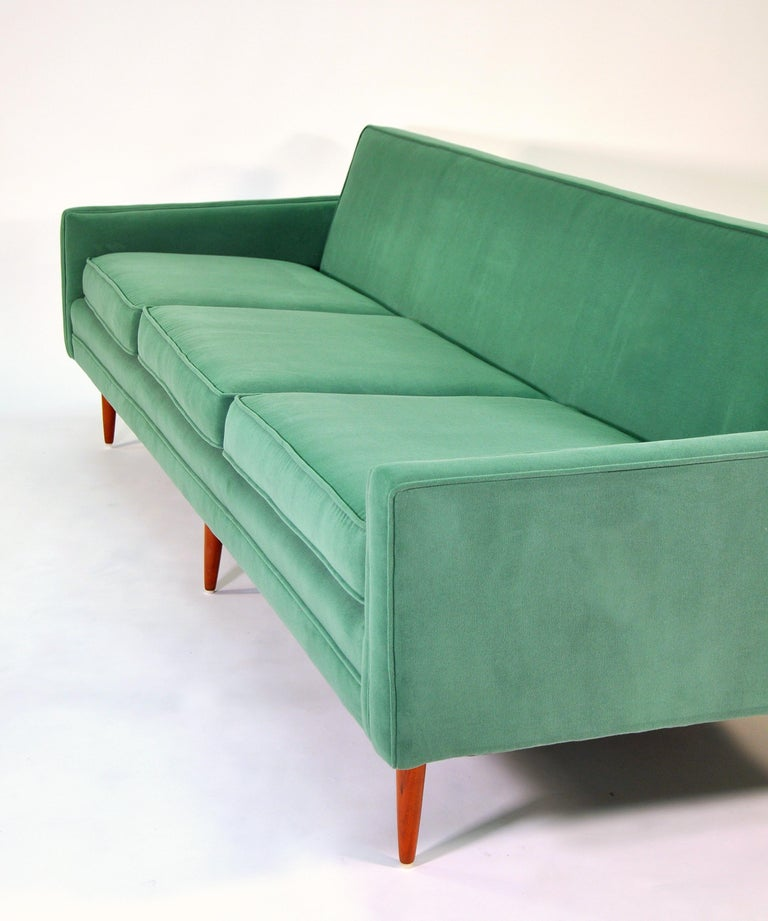 Milo Baughman for Thayer Coggin Green Velvet Sofa For Sale 3