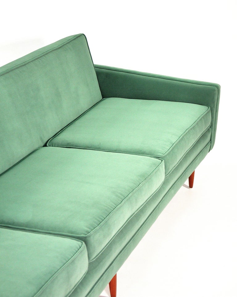 Milo Baughman for Thayer Coggin Green Velvet Sofa For Sale 4