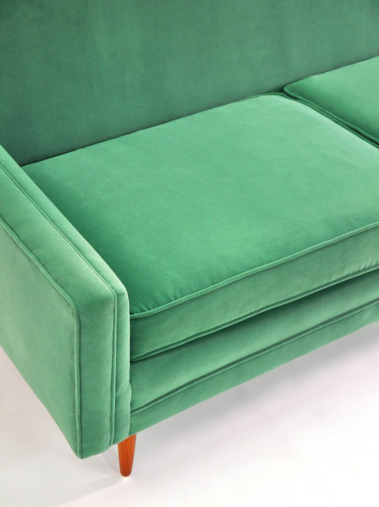 Milo Baughman for Thayer Coggin Green Velvet Sofa For Sale 6