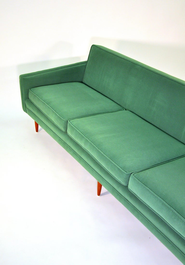 Milo Baughman for Thayer Coggin Green Velvet Sofa For Sale 7