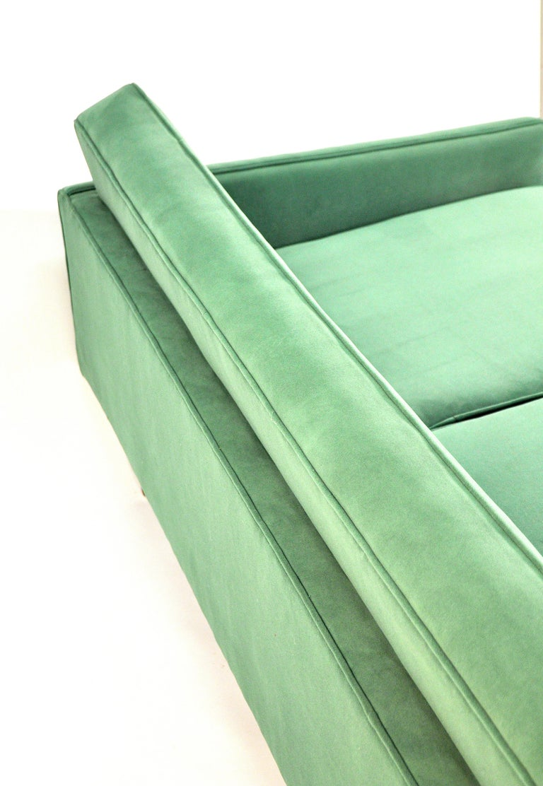 Milo Baughman for Thayer Coggin Green Velvet Sofa For Sale 9