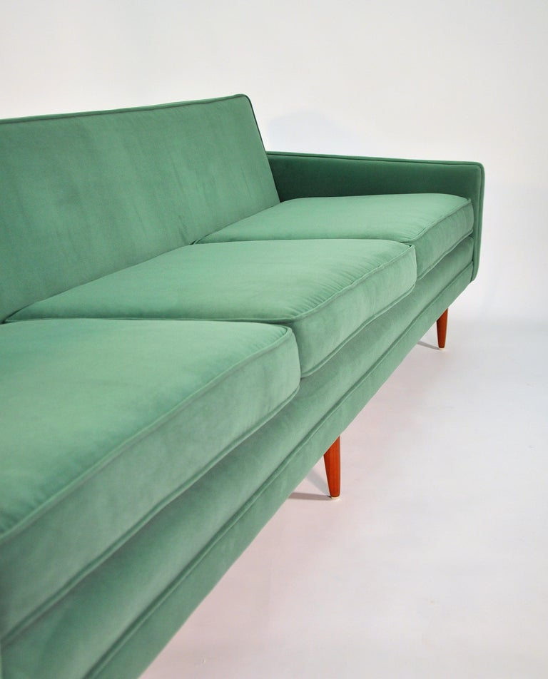 Milo Baughman for Thayer Coggin Green Velvet Sofa For Sale 11