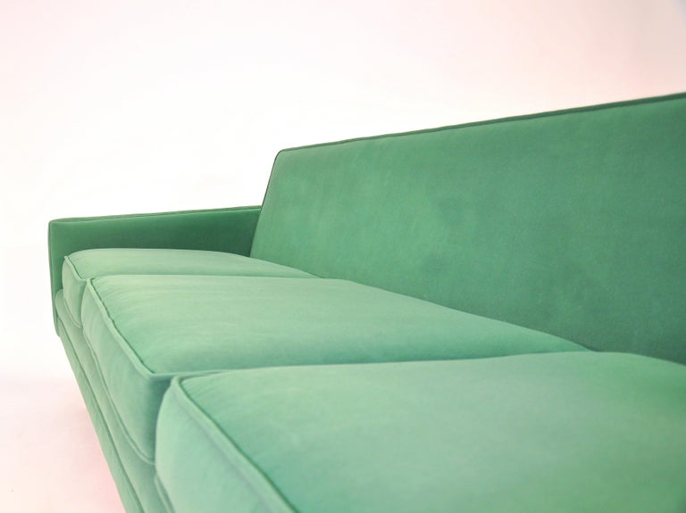 Milo Baughman for Thayer Coggin Green Velvet Sofa For Sale 12