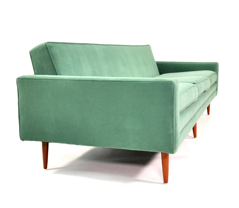 Mid-Century Modern Milo Baughman for Thayer Coggin Green Velvet Sofa For Sale