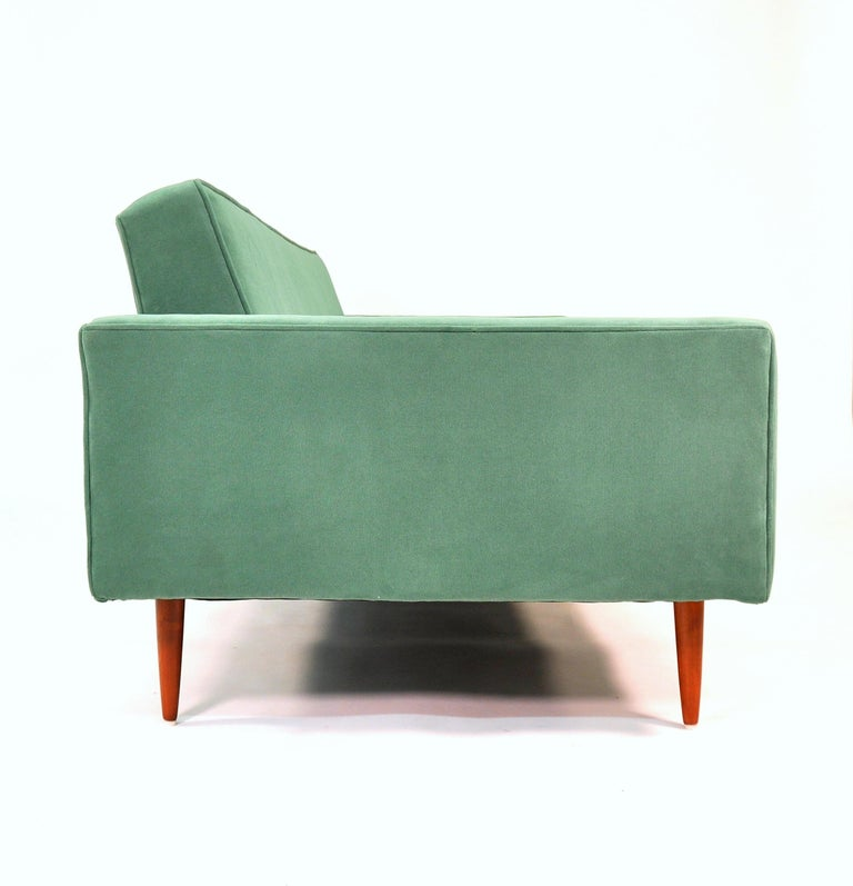 American Milo Baughman for Thayer Coggin Green Velvet Sofa For Sale