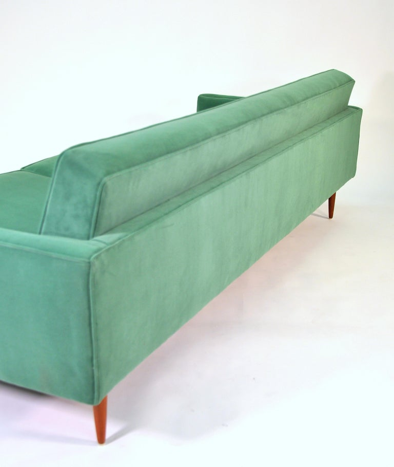 Mid-20th Century Milo Baughman for Thayer Coggin Green Velvet Sofa For Sale