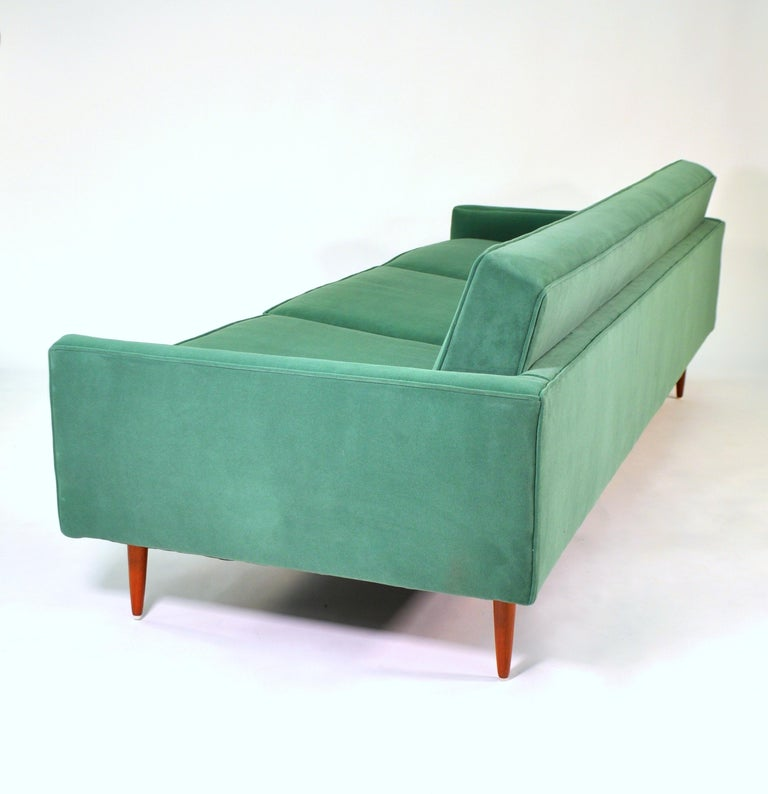 Walnut Milo Baughman for Thayer Coggin Green Velvet Sofa For Sale