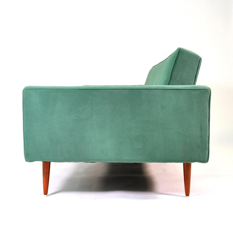 Milo Baughman for Thayer Coggin Green Velvet Sofa For Sale 1