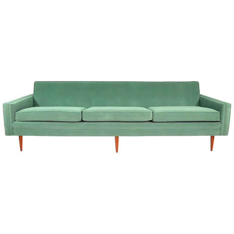 Milo Baughman for Thayer Coggin Green Velvet Sofa For Sale