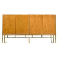 Milo Baughman for Thayer Coggin Hollywood Regency Bird's-Eye Maple Credenza Bar