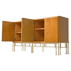 Milo Baughman for Thayer Coggin Hollywood Regency Birdseye Maple Credenza Bar