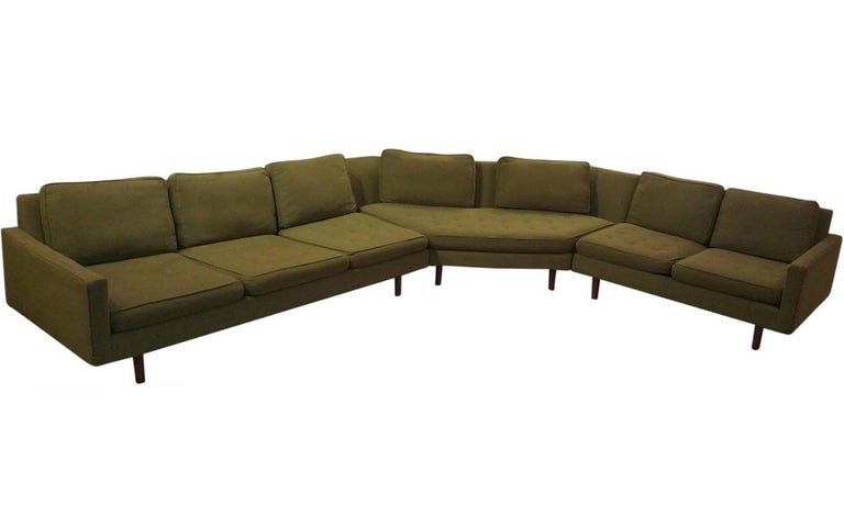 Mid-Century Modern three-piece sectional sofa designed by Milo Baughman for Thayer Coggin's 1964