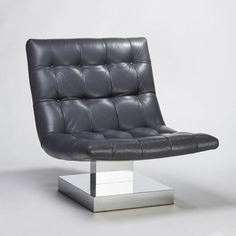 Milo Baughman For Thayer Coggin Leather Scoop Chrome