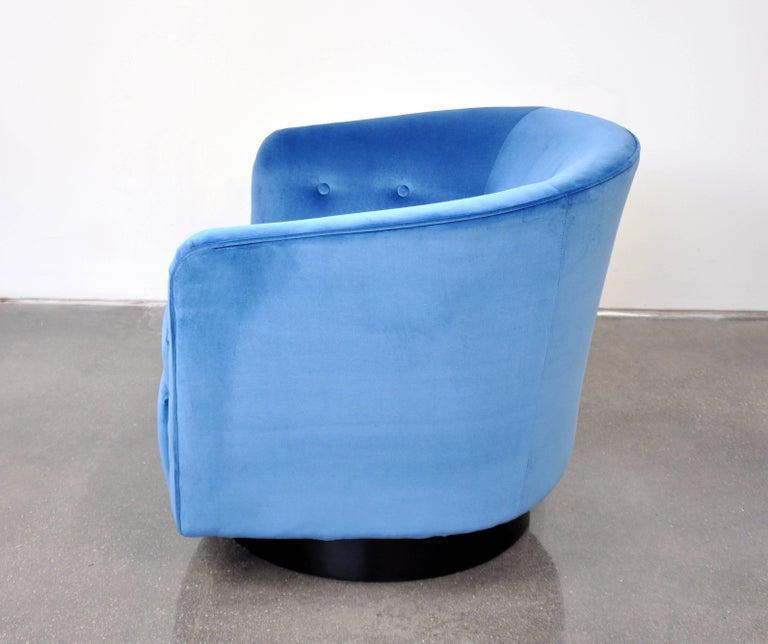 Milo Baughman For Thayer Coggin Light Blue Velvet Swivel