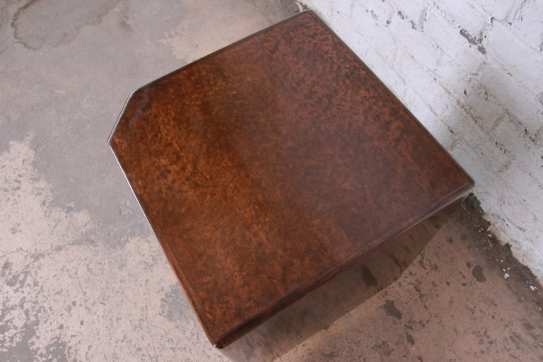 Late 20th Century Milo Baughman for Thayer Coggin Maple and Brass Cube Side Table For Sale