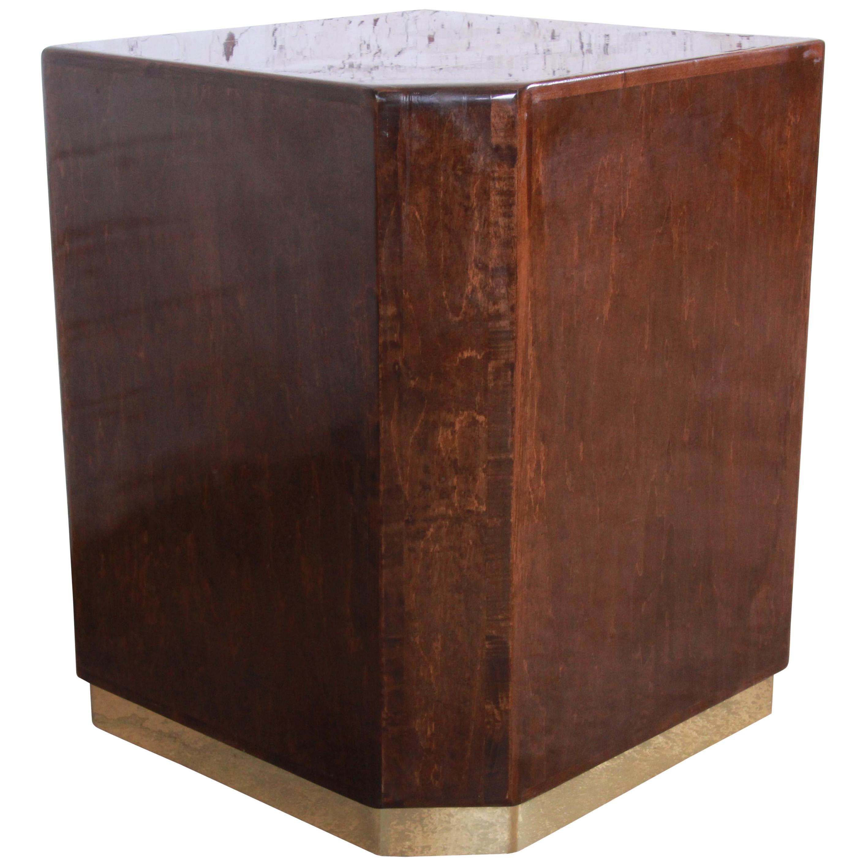 Milo Baughman for Thayer Coggin Maple and Brass Cube Side Table