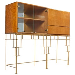Milo Baughman for Thayer Coggin Maple Bar Cabinets with Custom Made Metal Base