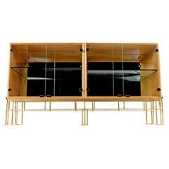 Hollywood Regency Maple Credenza with Custom Made Metal Base
