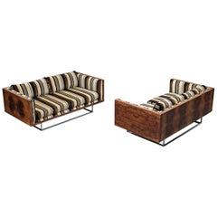 Milo Baughman for Thayer Coggin, Matching Box Sofas in Rosewood