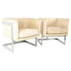 Milo Baughman for Thayer Coggin MCM Floating Club Lounge Chairs, Pair